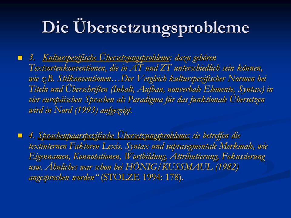 Die Übersetzungsprobleme