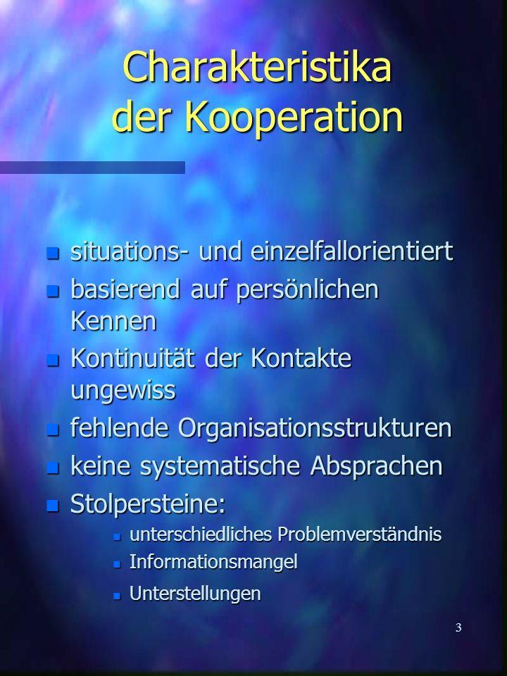 Charakteristika der Kooperation