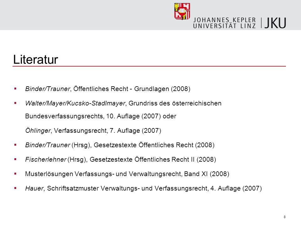Literatur Binder/Trauner, Öffentliches Recht - Grundlagen (2008)