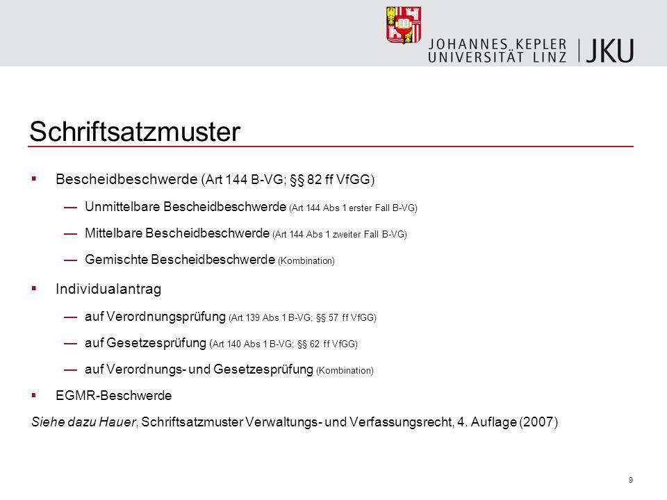 Schriftsatzmuster Bescheidbeschwerde (Art 144 B-VG; §§ 82 ff VfGG)