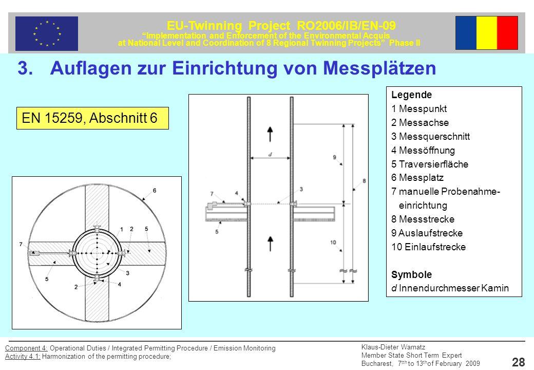 3. Auflagen zur Einrichtung von Messplätzen