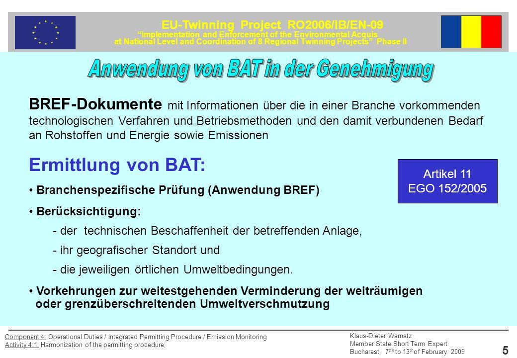 Anwendung von BAT in der Genehmigung