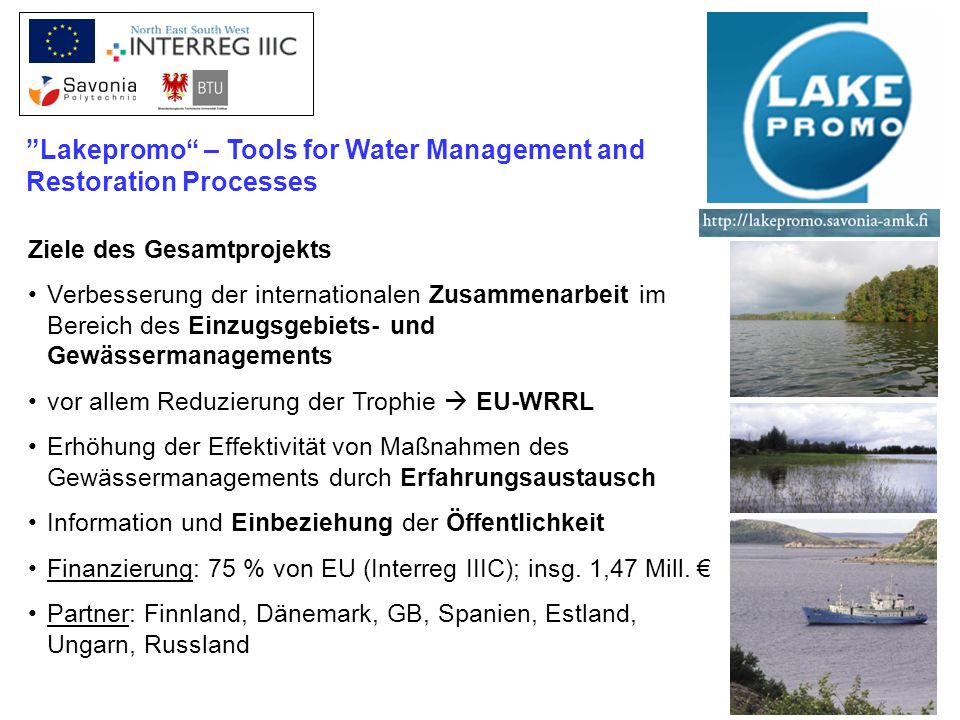 Lakepromo – Tools for Water Management and Restoration Processes