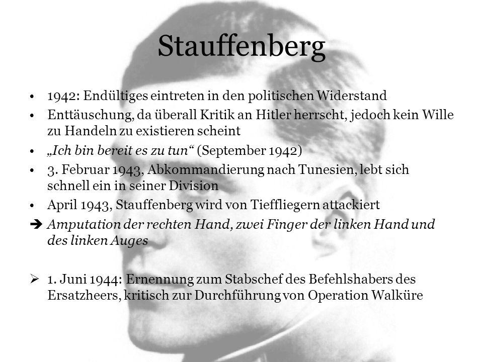 Stauffenberg 1942: Endültiges eintreten in den politischen Widerstand