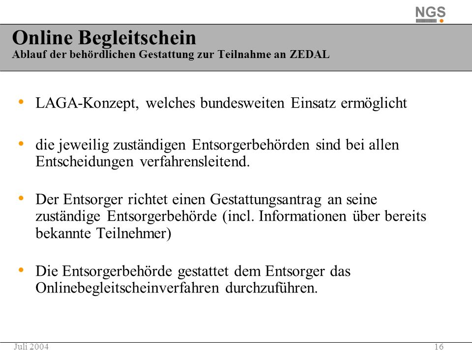 Online Begleitschein Ablauf der behördlichen Gestattung zur Teilnahme an ZEDAL