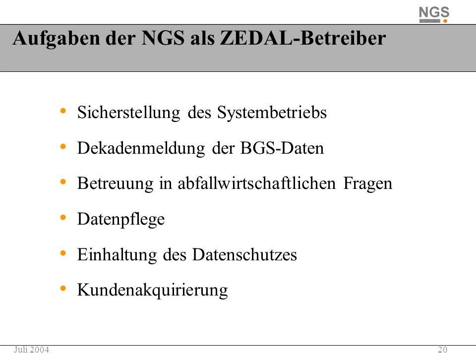 Aufgaben der NGS als ZEDAL-Betreiber