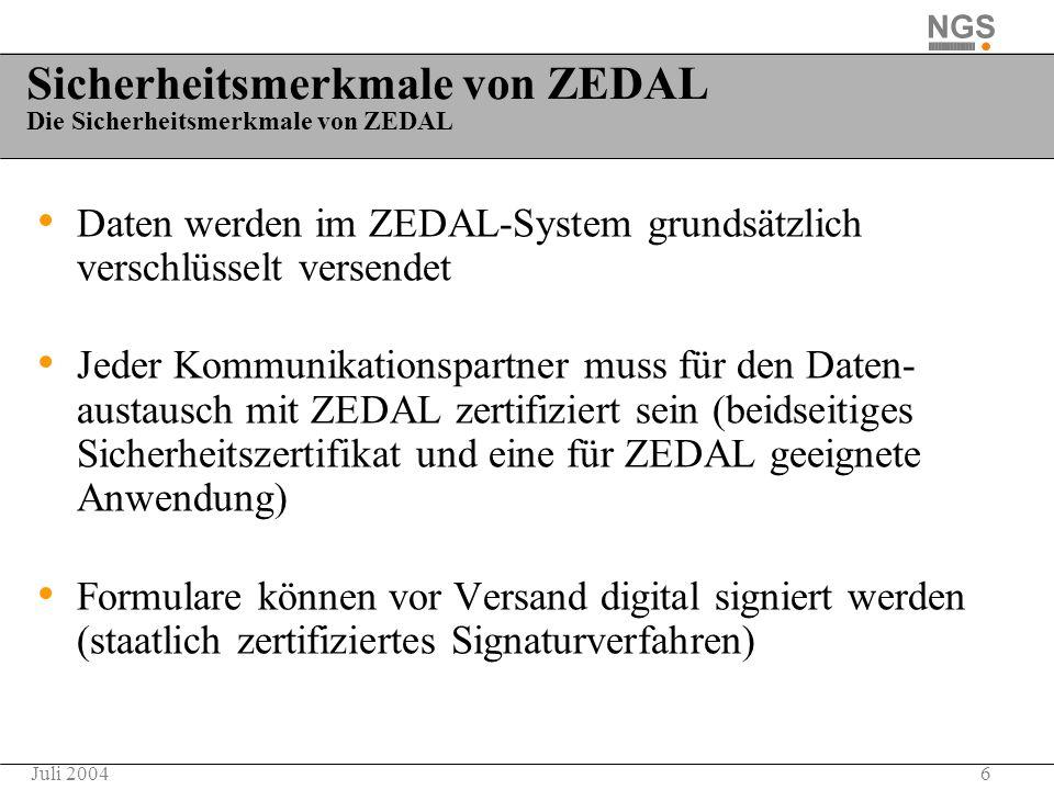 Sicherheitsmerkmale von ZEDAL Die Sicherheitsmerkmale von ZEDAL