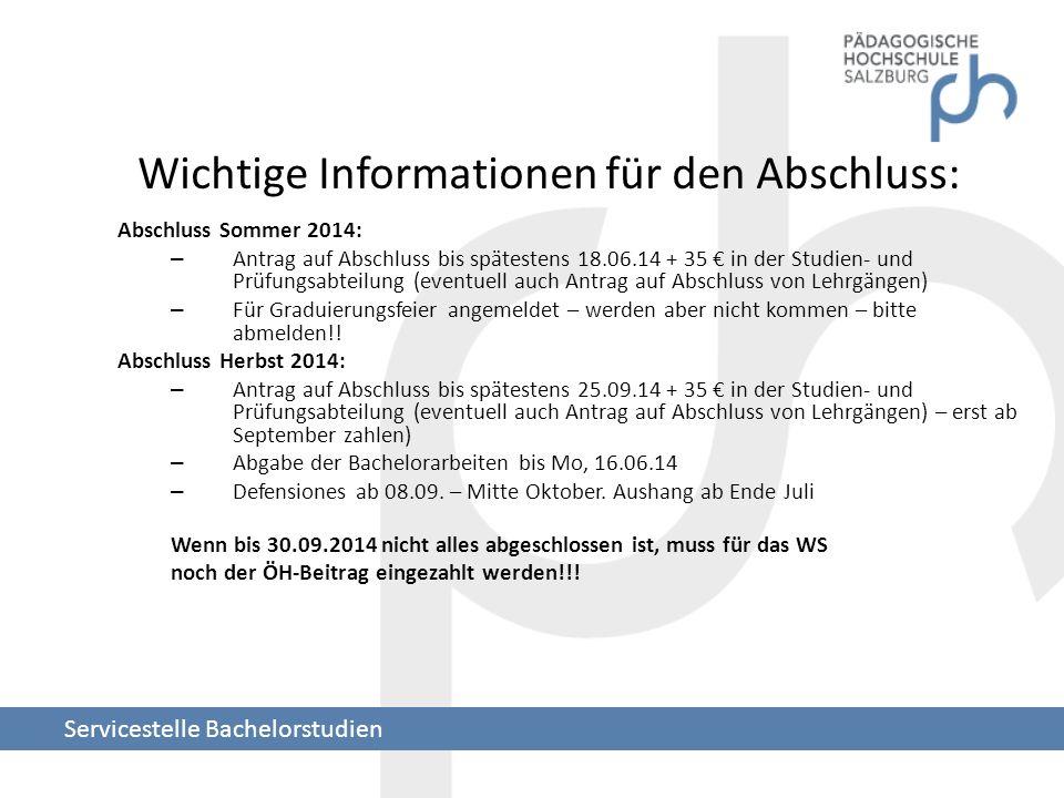 Wichtige Informationen für den Abschluss: