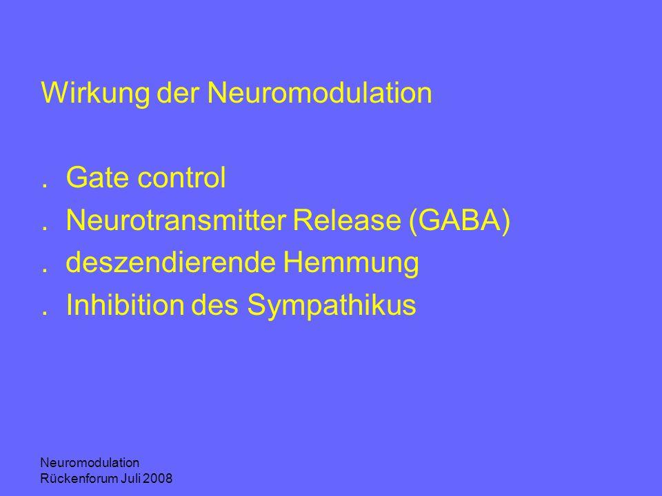 Wirkung der Neuromodulation . Gate control