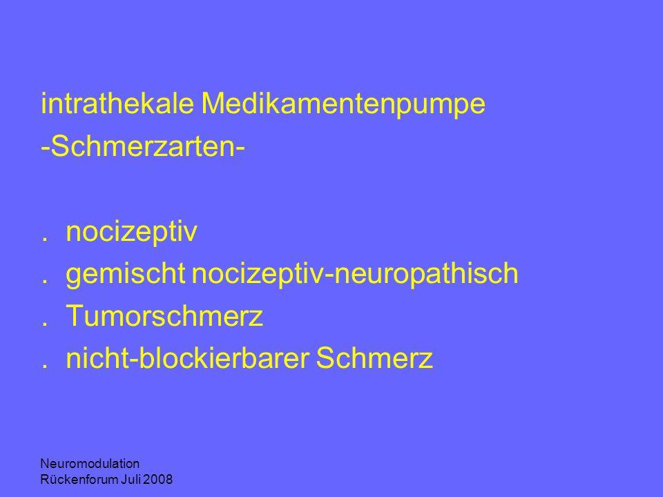 intrathekale Medikamentenpumpe -Schmerzarten- . nocizeptiv