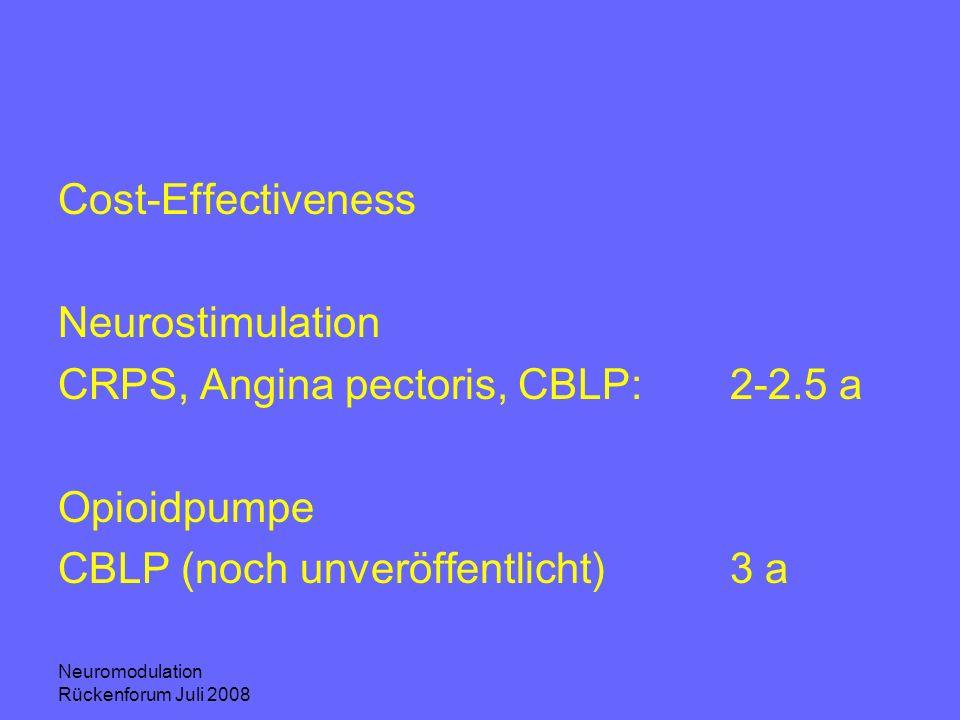 CRPS, Angina pectoris, CBLP: 2-2.5 a Opioidpumpe