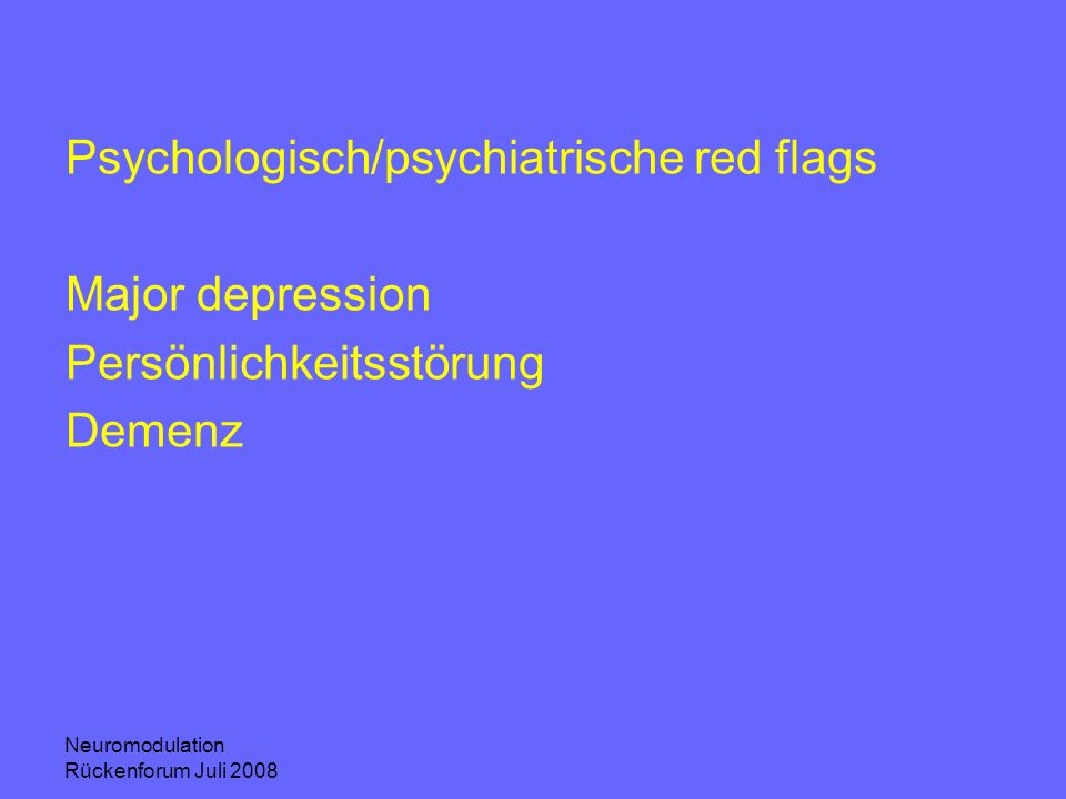 Psychologisch/psychiatrische red flags Major depression