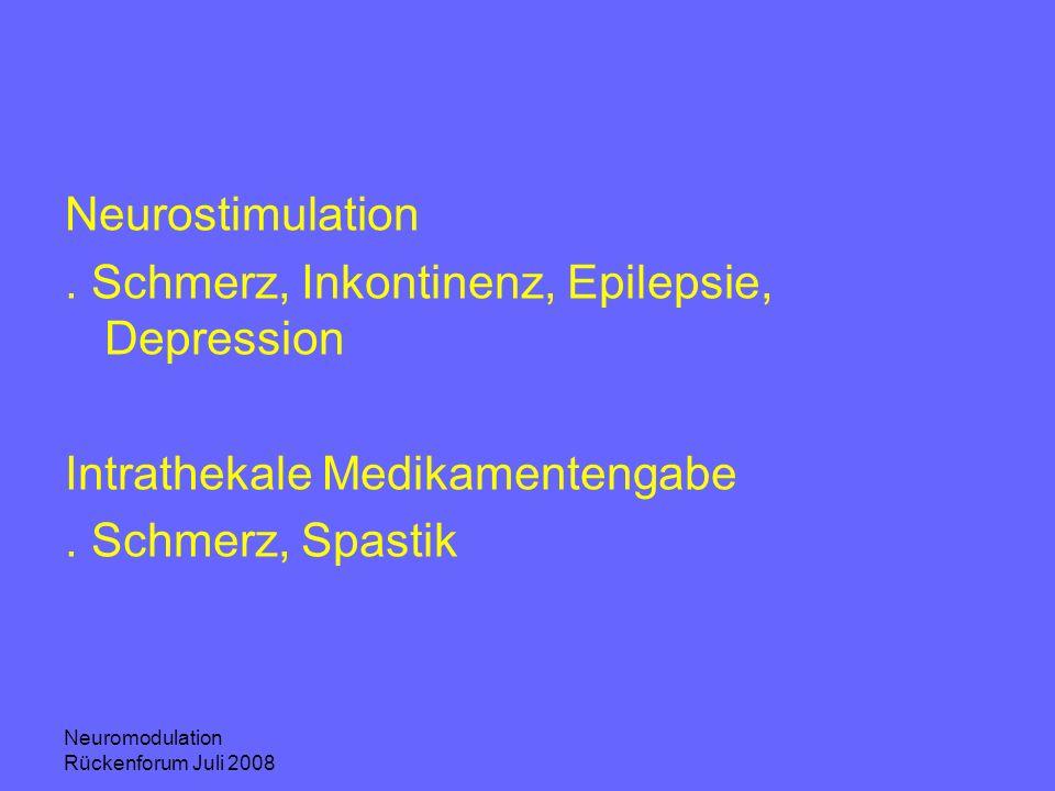 . Schmerz, Inkontinenz, Epilepsie, Depression