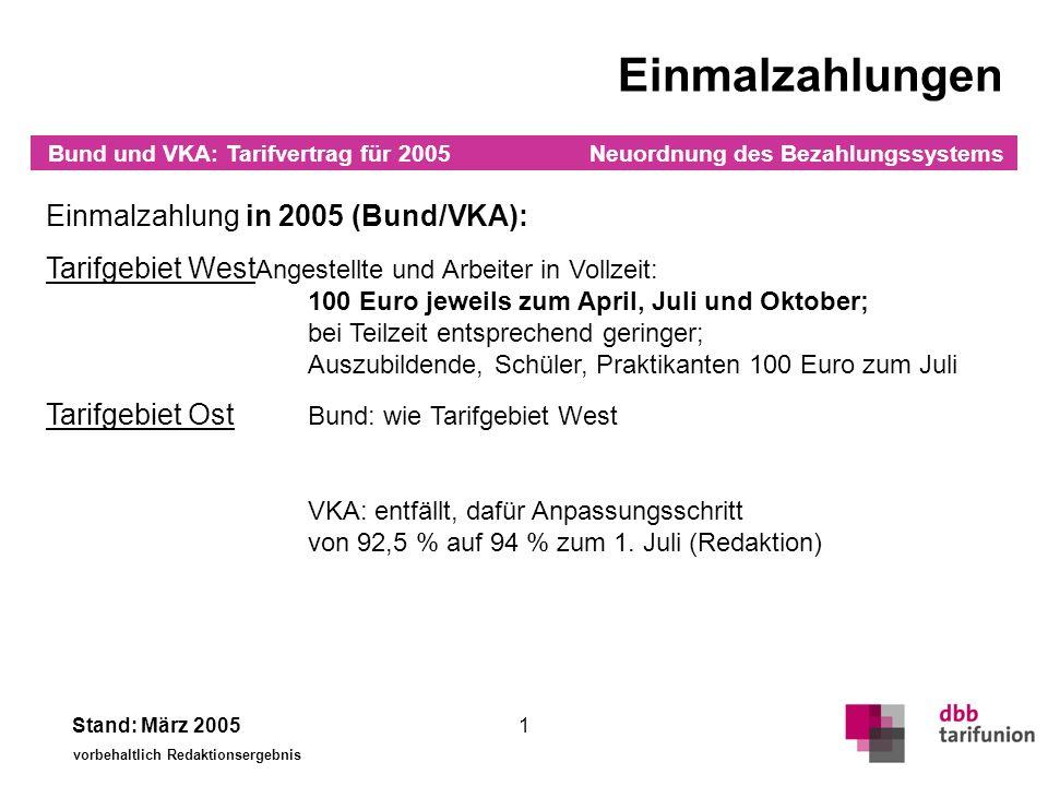 Einmalzahlungen Einmalzahlung in 2006 und 2007 (Bund):