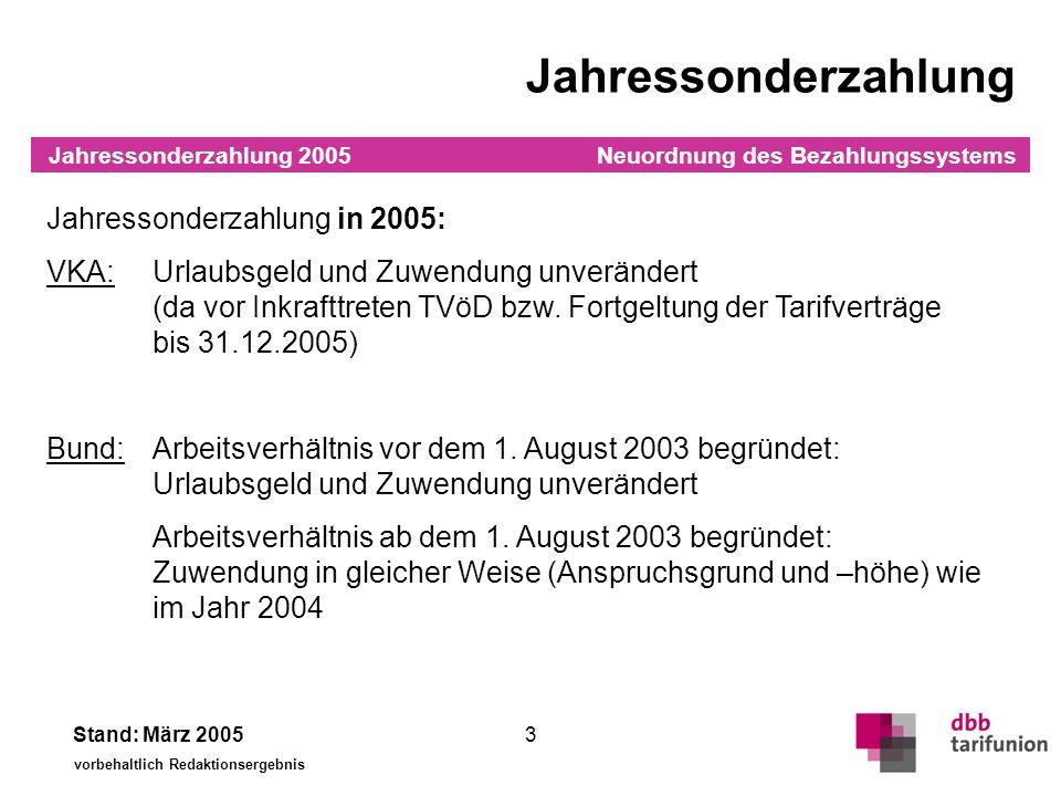 Jahressonderzahlung Jahressonderzahlung in 2006 (Bund/VKA):