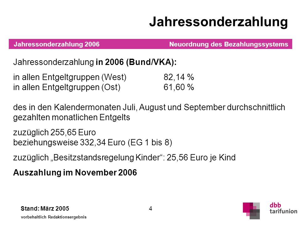 Jahressonderzahlung Jahressonderzahlung ab 2007 (Bund/VKA):