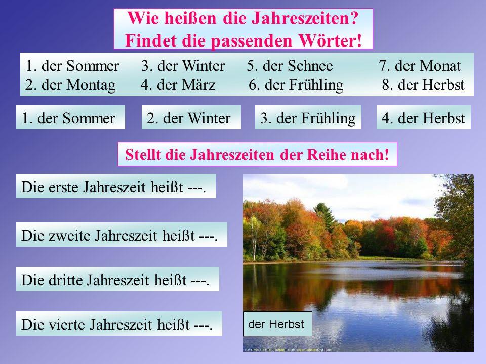 Wie heißen die Jahreszeiten Findet die passenden Wörter!