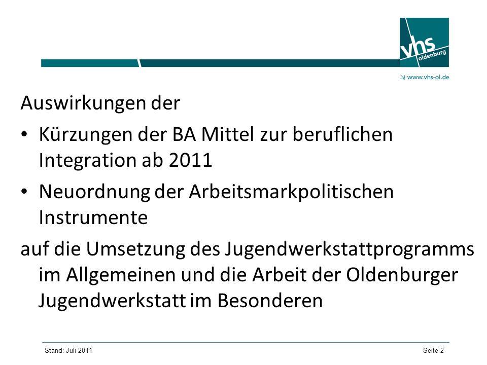 Auswirkungen der Kürzungen der BA Mittel zur beruflichen Integration ab 2011. Neuordnung der Arbeitsmarkpolitischen Instrumente.