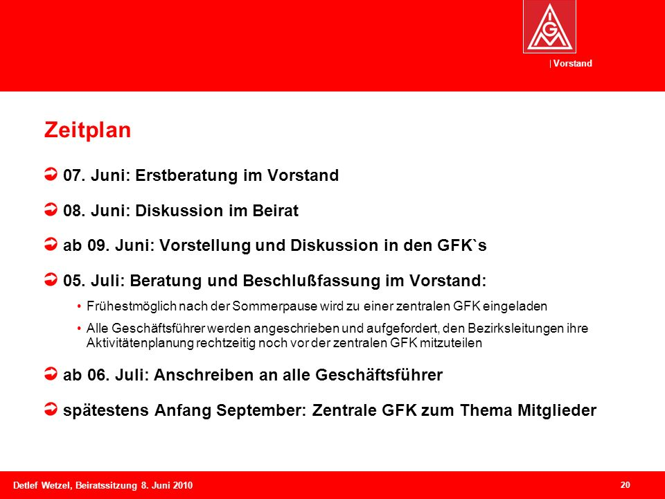 Zeitplan 07. Juni: Erstberatung im Vorstand