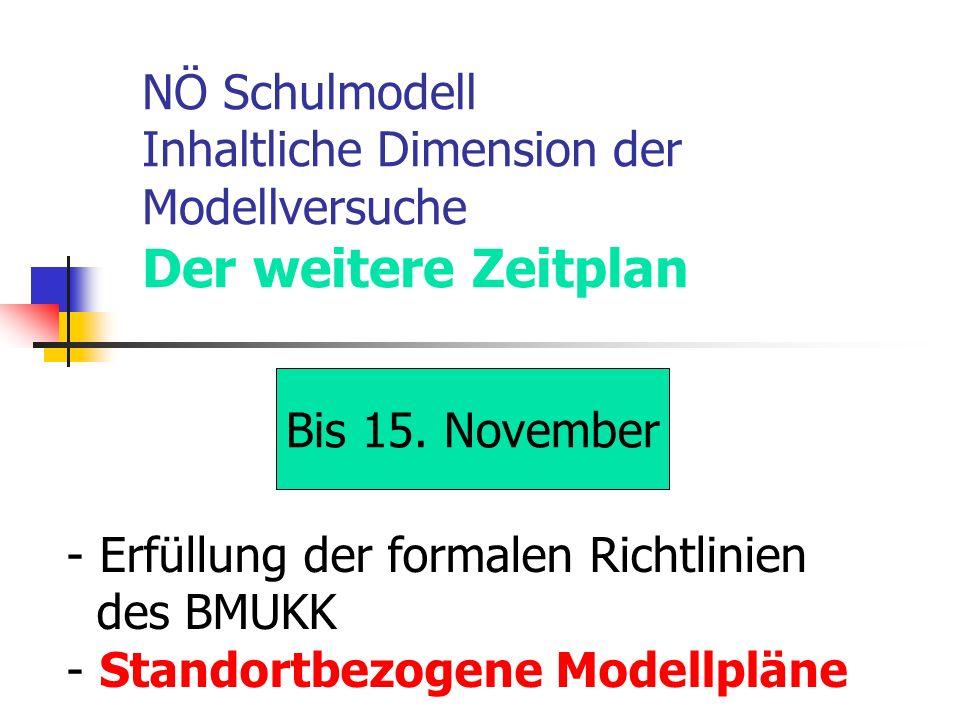 NÖ Schulmodell Inhaltliche Dimension der Modellversuche Der weitere Zeitplan