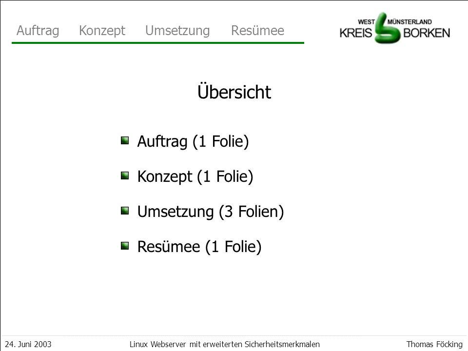 Übersicht Auftrag (1 Folie) Konzept (1 Folie) Umsetzung (3 Folien)