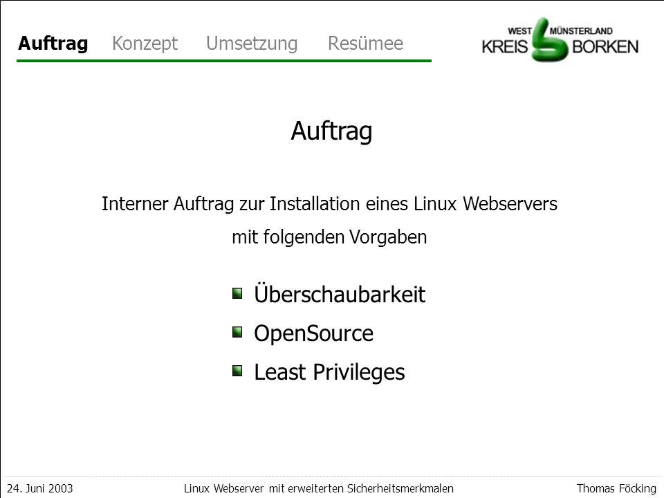 Auftrag Überschaubarkeit OpenSource Least Privileges Auftrag