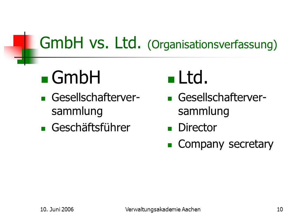 GmbH vs. Ltd. (Organisationsverfassung)