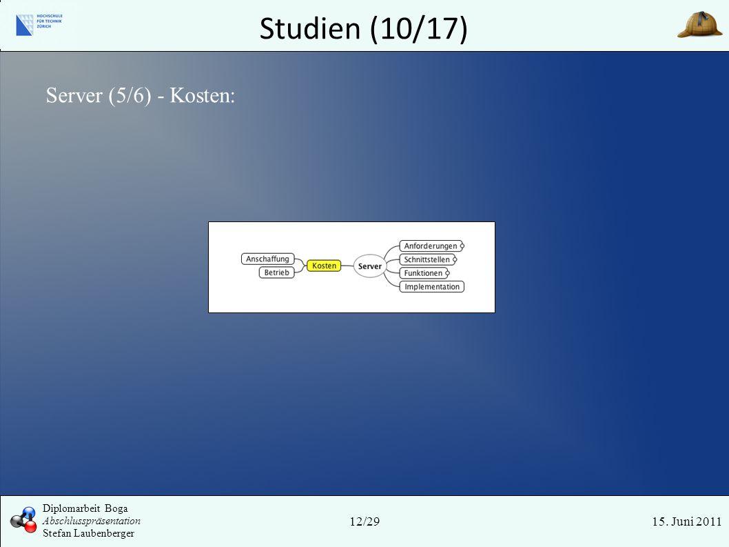Studien (10/17) Server (5/6) - Kosten: Tyr 12/29 15. Juni 2011