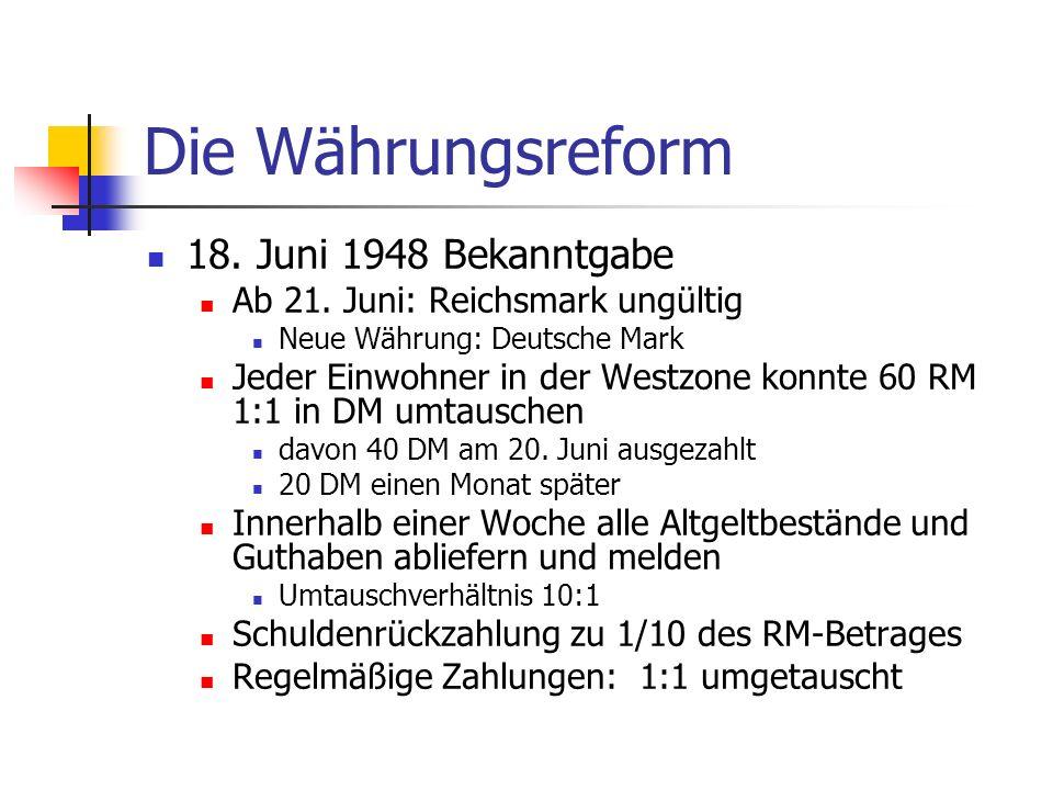 Die Währungsreform 18. Juni 1948 Bekanntgabe