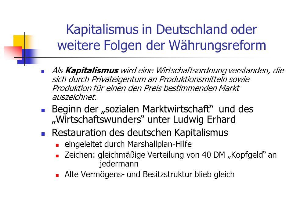 Kapitalismus in Deutschland oder weitere Folgen der Währungsreform