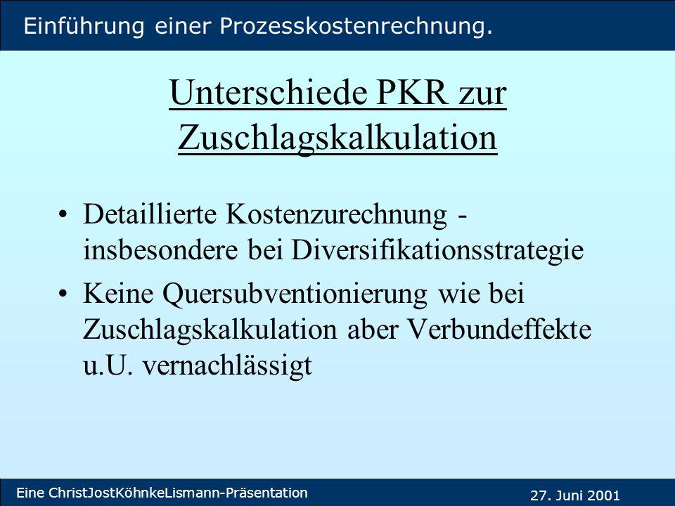 Unterschiede PKR zur Zuschlagskalkulation