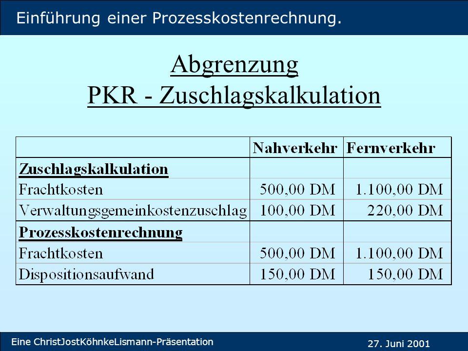Abgrenzung PKR - Zuschlagskalkulation