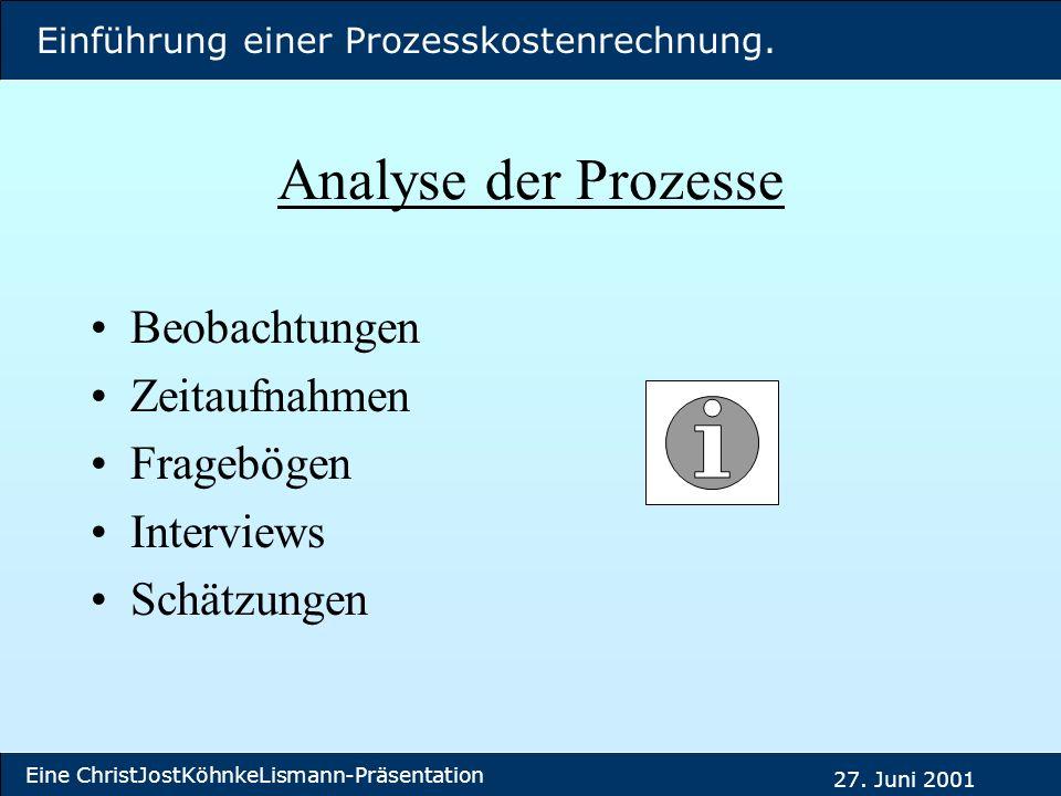 Analyse der Prozesse Beobachtungen Zeitaufnahmen Fragebögen Interviews