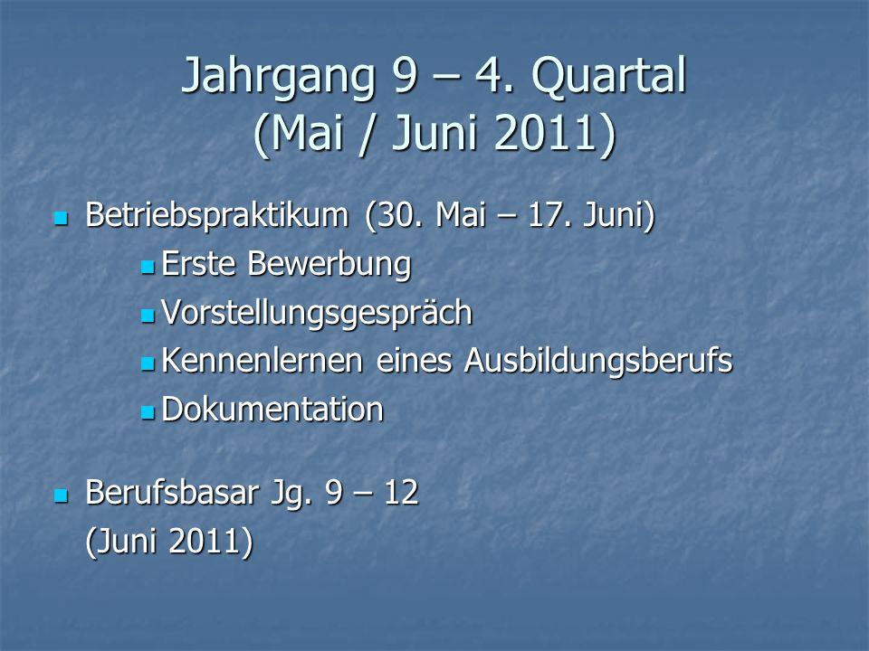 Jahrgang 9 – 4. Quartal (Mai / Juni 2011)