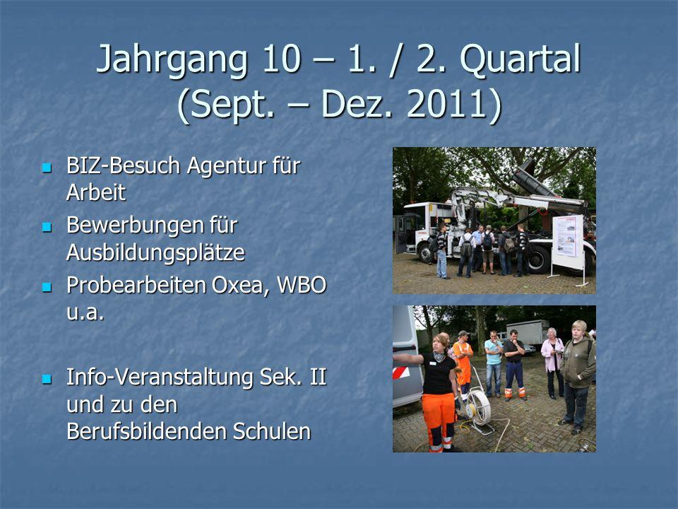 Jahrgang 10 – 1. / 2. Quartal (Sept. – Dez. 2011)