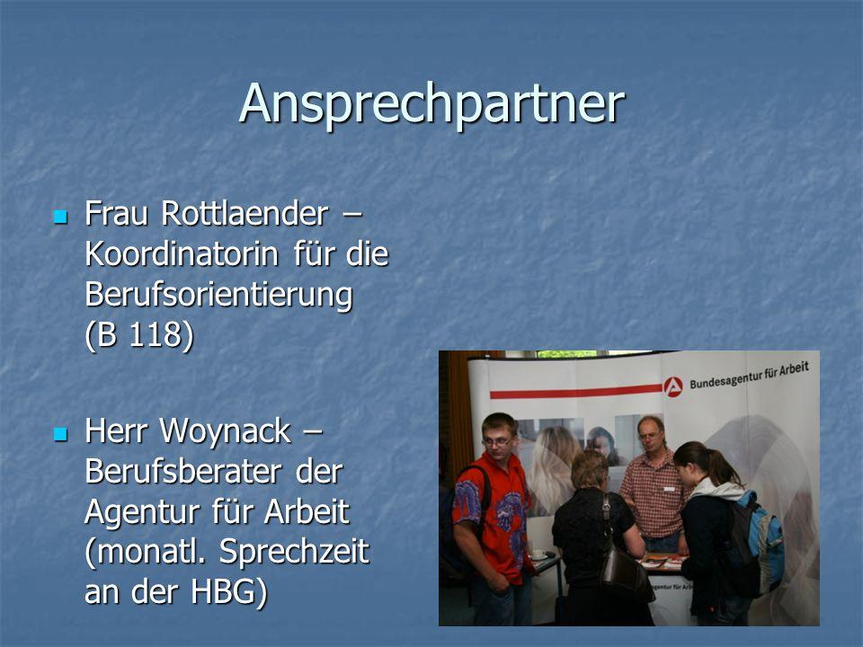 Ansprechpartner Frau Rottlaender – Koordinatorin für die Berufsorientierung (B 118)