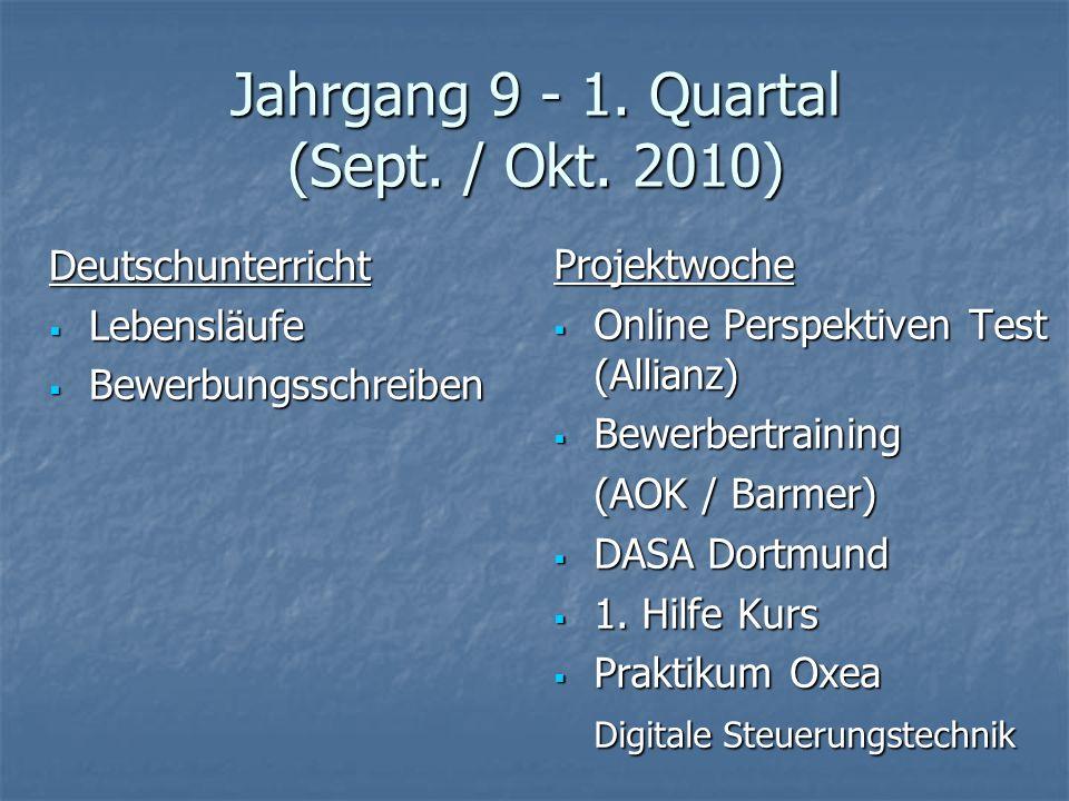 Jahrgang 9 - 1. Quartal (Sept. / Okt. 2010)