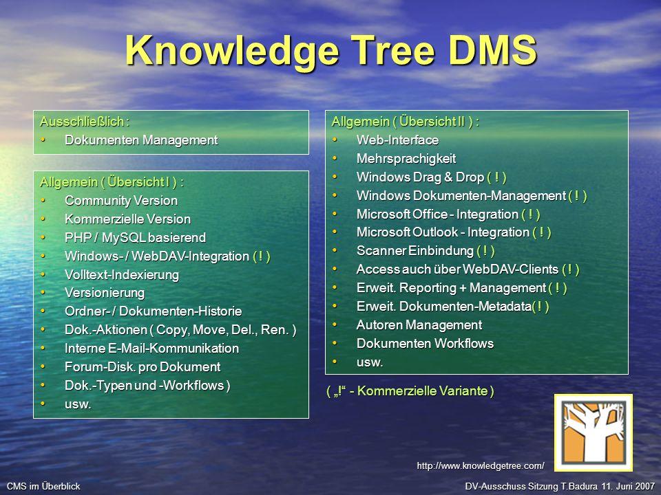 Knowledge Tree DMS Ausschließlich : Dokumenten Management