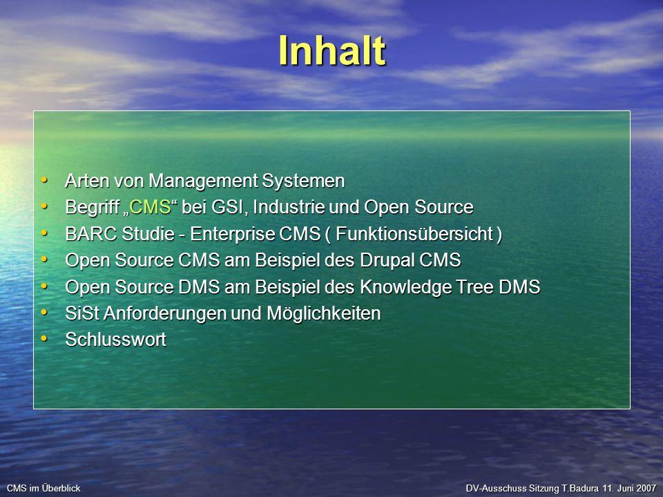 Inhalt Arten von Management Systemen