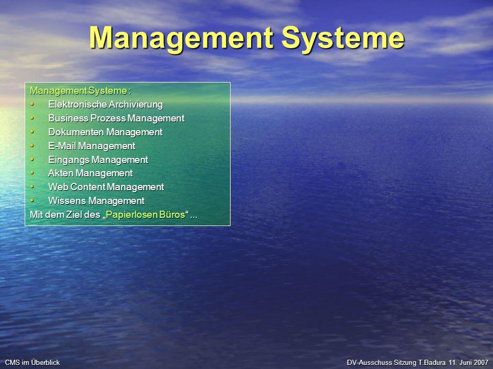 Management Systeme Management Systeme : Elektronische Archivierung