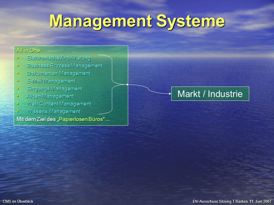 Management Systeme Markt / Industrie All in One :