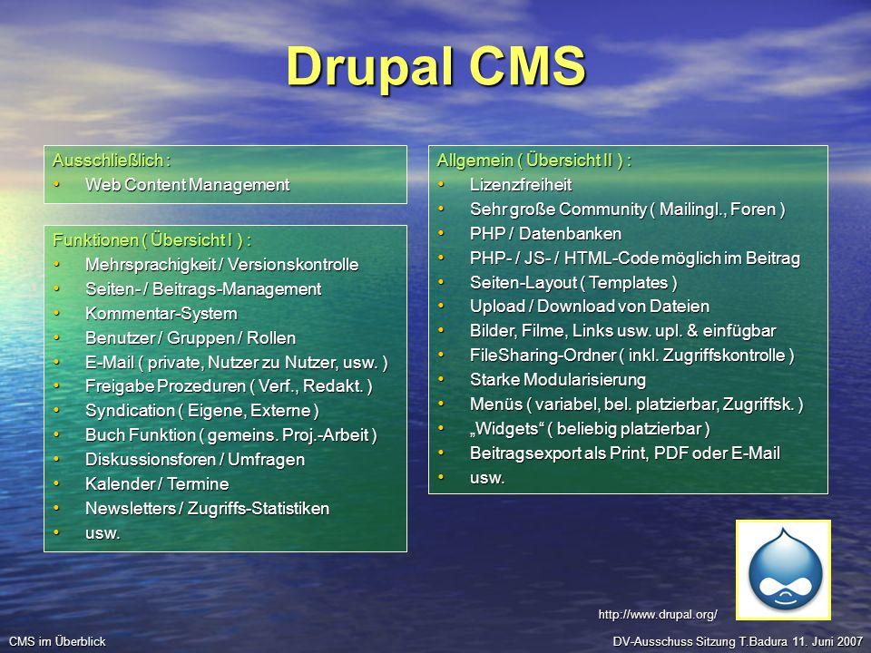 Drupal CMS Ausschließlich : Web Content Management