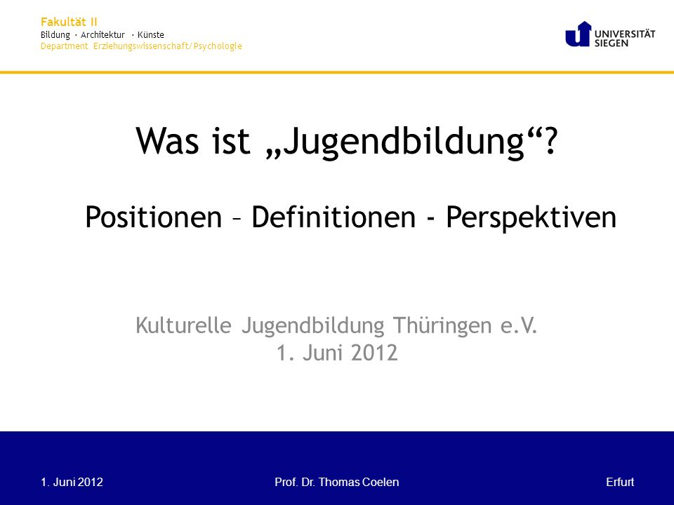 "Was ist ""Jugendbildung Positionen – Definitionen - Perspektiven"