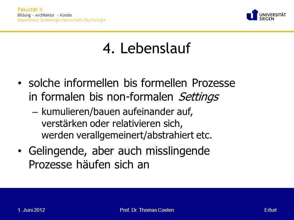 4. Lebenslauf solche informellen bis formellen Prozesse in formalen bis non-formalen Settings.