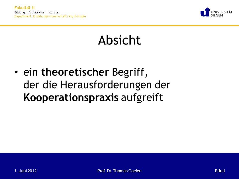 Absicht ein theoretischer Begriff, der die Herausforderungen der Kooperationspraxis aufgreift. 1. Juni 2012.