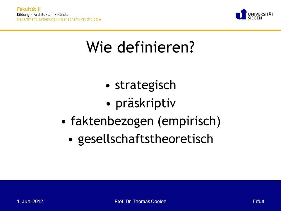 Wie definieren strategisch präskriptiv faktenbezogen (empirisch)