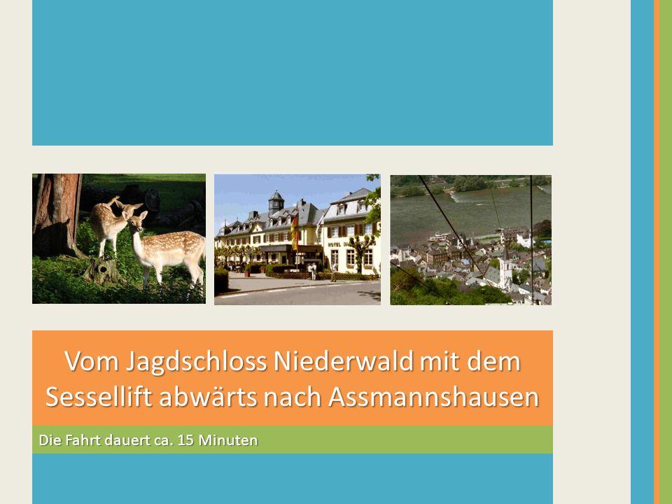 Vom Jagdschloss Niederwald mit dem Sessellift abwärts nach Assmannshausen