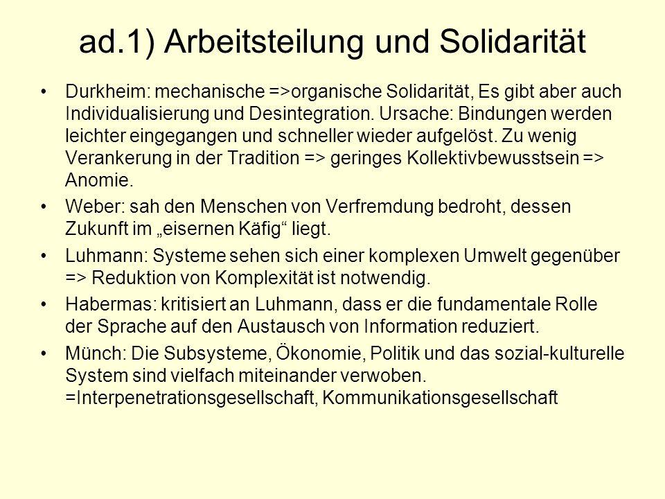 ad.1) Arbeitsteilung und Solidarität