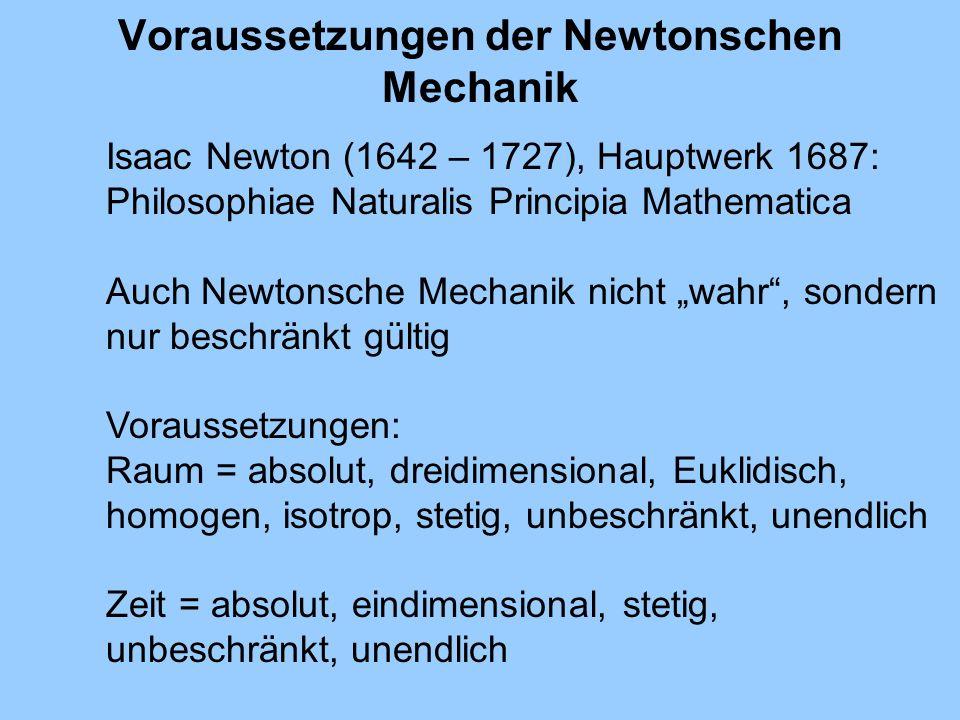 Voraussetzungen der Newtonschen Mechanik