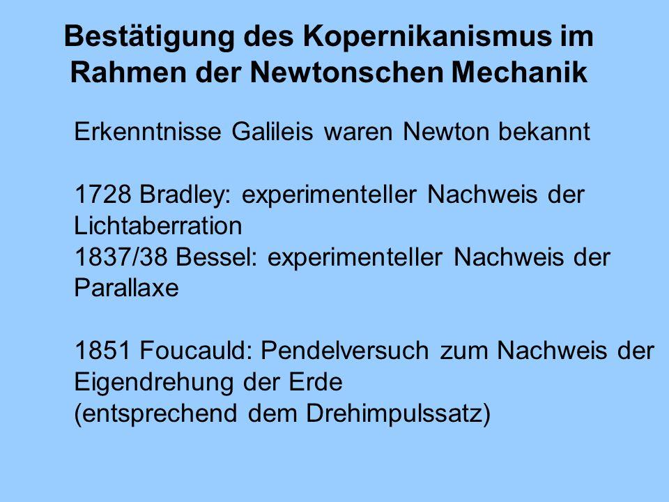 Bestätigung des Kopernikanismus im Rahmen der Newtonschen Mechanik